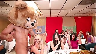 DANCING BEAR - A Bunch Of Horny Chicks Deepthroat Male Stripper Cocks At A CFNM Party