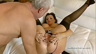 Messy English MILF anal asslicking and gagging