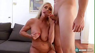 Hot light-haired granny fucking a youthfull stud with fat cock