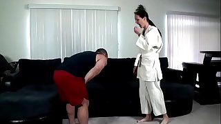 Karate lesson ends in creampie