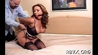 Petite beauty becomes bounded victim in sexy restrain bondage scene